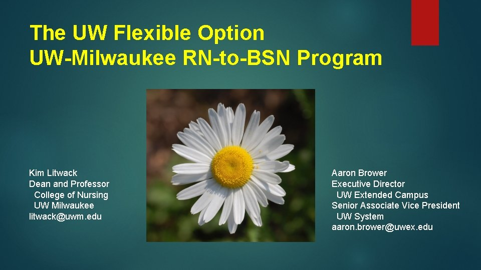 The UW Flexible Option UW-Milwaukee RN-to-BSN Program Kim Litwack Dean and Professor College of