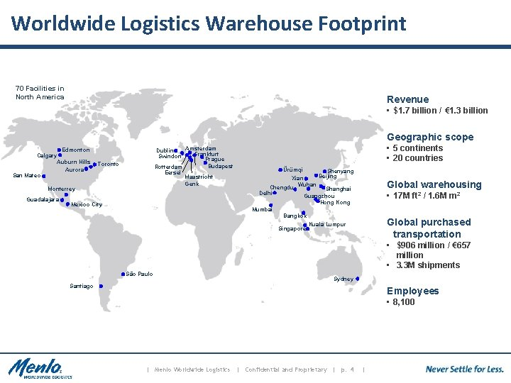 Worldwide Logistics Warehouse Footprint 70 Facilities in North America Revenue • $1. 7 billion