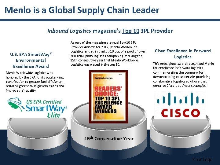 Menlo is a Global Supply Chain Leader Inbound Logistics magazine's Top 10 3 PL