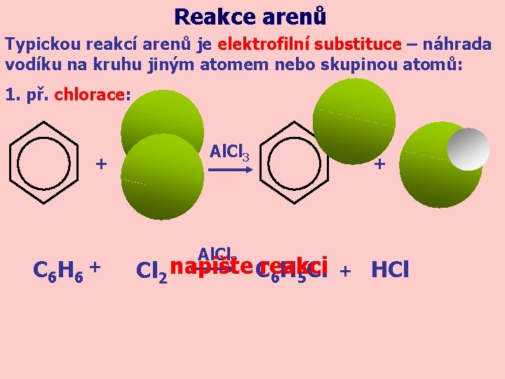 Reakce arenů Typickou reakcí arenů je elektrofilní substituce – náhrada vodíku na kruhu jiným