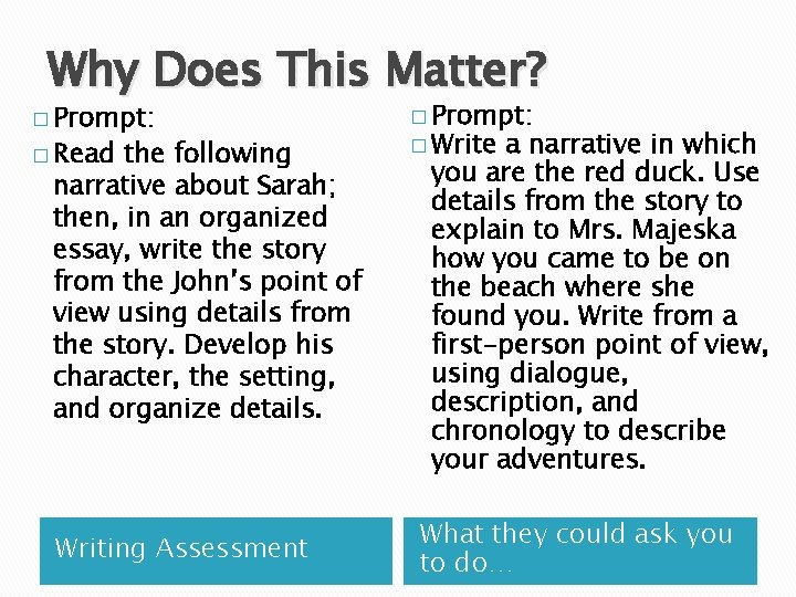Why Does This Matter? � Prompt: � Read the following narrative about Sarah; then,