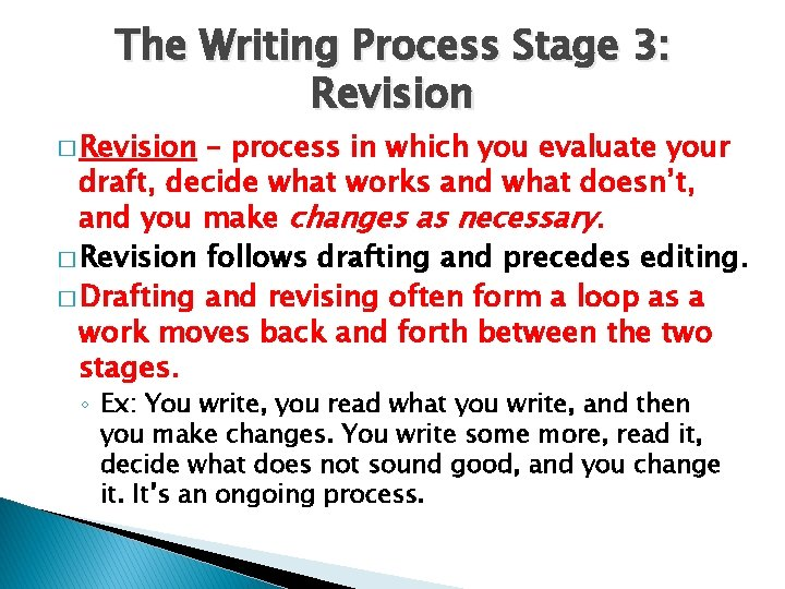 The Writing Process Stage 3: Revision � Revision – process in which you evaluate