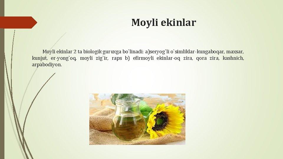 Moyli ekinlar 2 ta biologik guruxga bo`linadi: a)sеryog`li o`simliklar-kungaboqar, maxsar, kunjut, еr-yong`oq, moyli zig`ir,