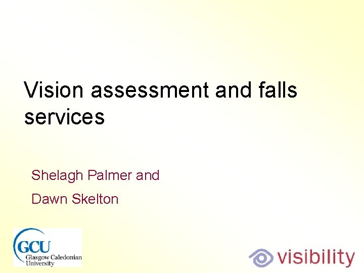 Vision assessment and falls services Shelagh Palmer and Dawn Skelton