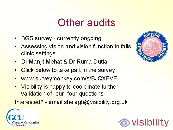 Other audits • BGS survey - currently ongoing • Assessing vision and vision function
