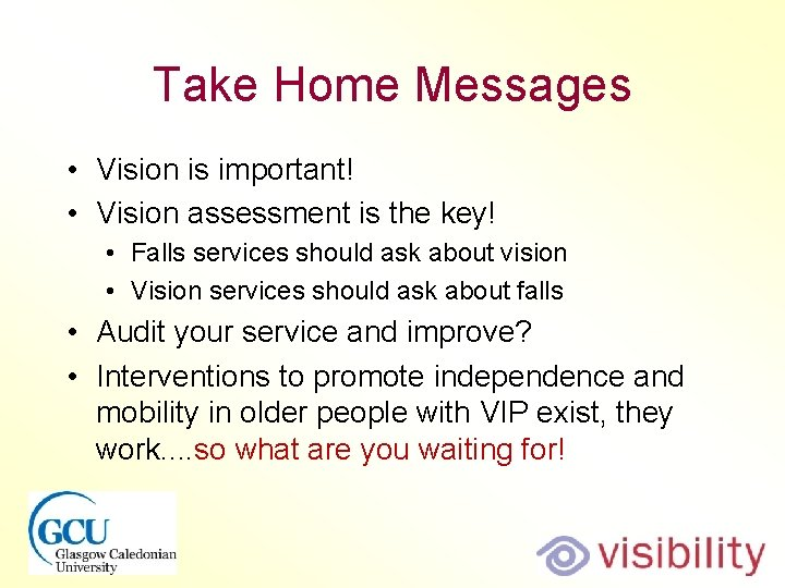 Take Home Messages • Vision is important! • Vision assessment is the key! •