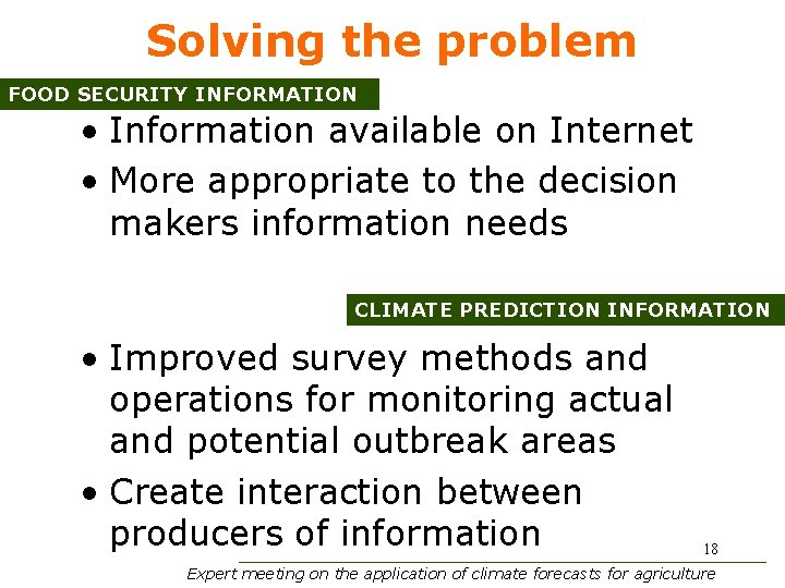 Solving the problem FOOD SECURITY INFORMATION • Information available on Internet • More appropriate