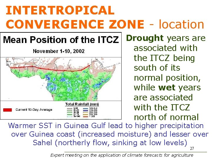 INTERTROPICAL CONVERGENCE ZONE - location Drought years are associated with the ITCZ being south
