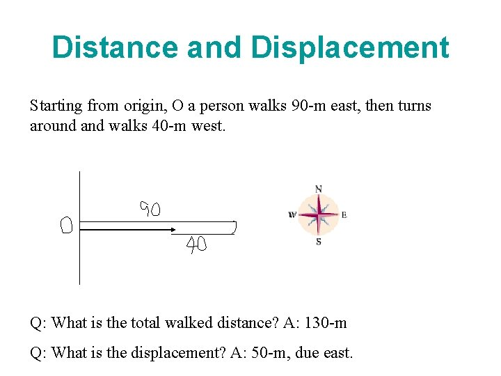 Distance and Displacement Starting from origin, O a person walks 90 -m east, then