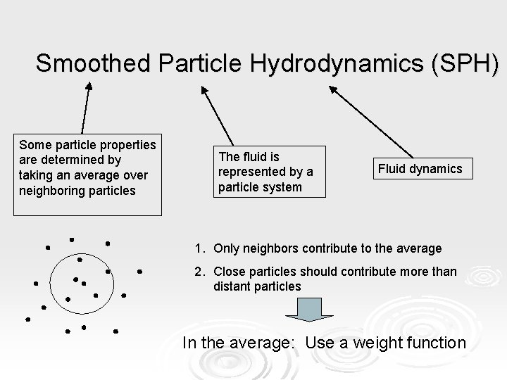 Smoothed Particle Hydrodynamics (SPH) Some particle properties are determined by taking an average over