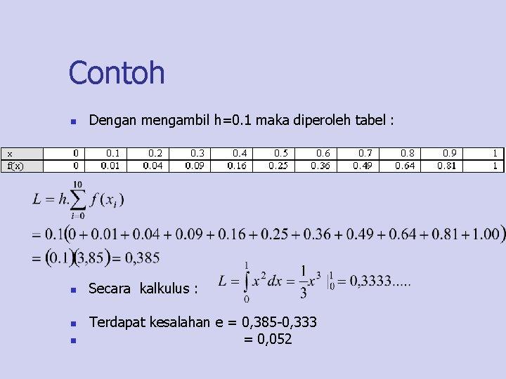 Contoh n Dengan mengambil h=0. 1 maka diperoleh tabel : n Secara kalkulus :