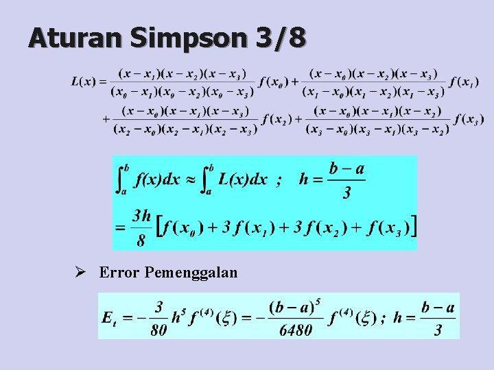 Aturan Simpson 3/8 Ø Error Pemenggalan