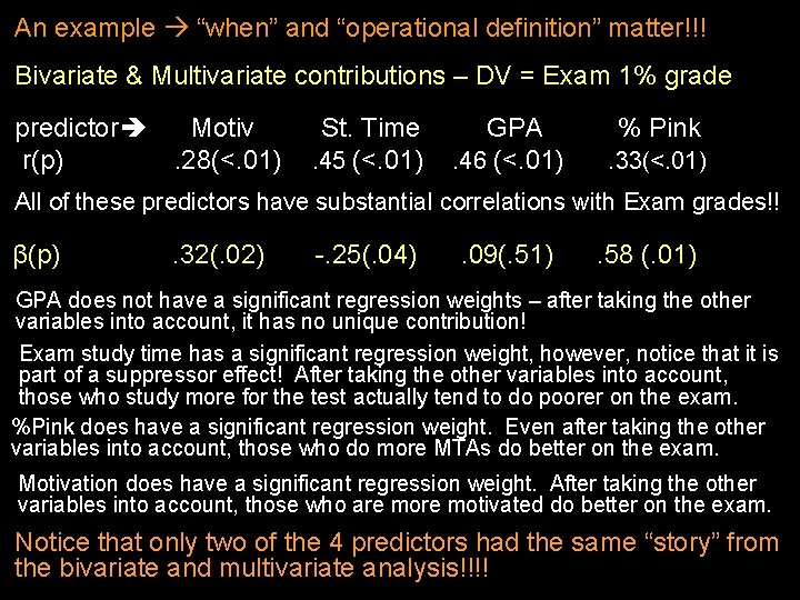 "An example ""when"" and ""operational definition"" matter!!! Bivariate & Multivariate contributions – DV ="