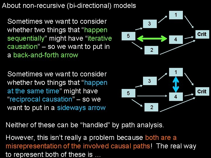 "About non-recursive (bi-directional) models Sometimes we want to consider whether two things that ""happen"