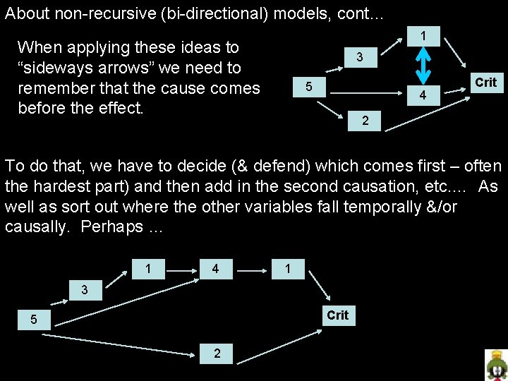 "About non-recursive (bi-directional) models, cont… 1 When applying these ideas to ""sideways arrows"" we"
