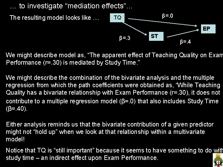 "… to investigate ""mediation effects""… The resulting model looks like … β=. 0 TQ"