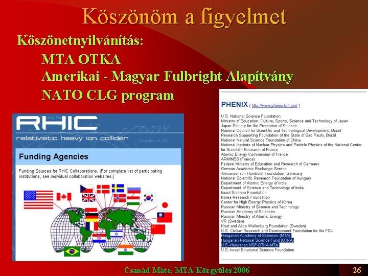 Köszönöm a figyelmet Köszönetnyilvánítás: MTA OTKA Amerikai - Magyar Fulbright Alapítvány NATO CLG program