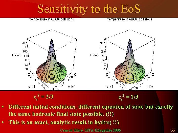 Sensitivity to the Eo. S cs 2 = 2/3 cs 2 = 1/3 •