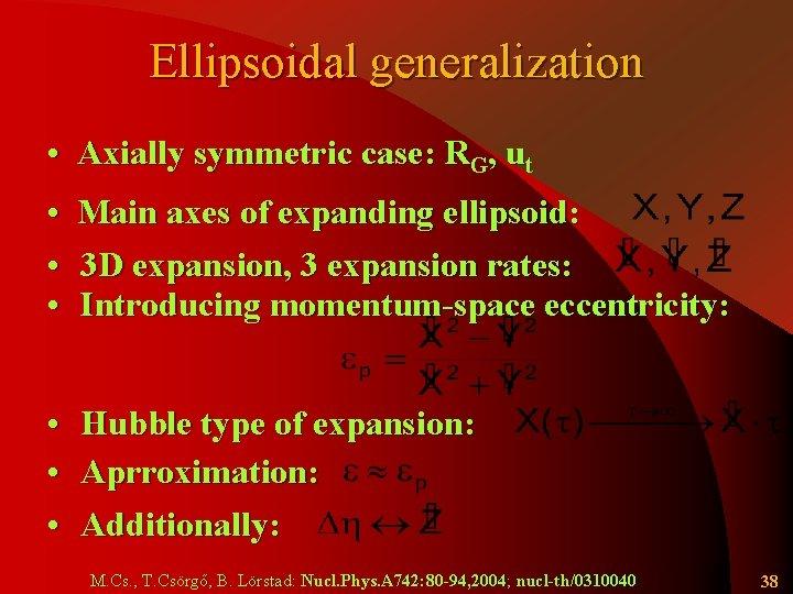 Ellipsoidal generalization • Axially symmetric case: RG, ut • Main axes of expanding ellipsoid: