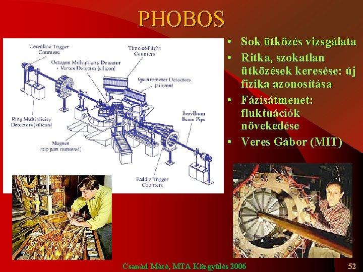 PHOBOS • Sok ütközés vizsgálata • Ritka, szokatlan ütközések keresése: új fizika azonosítása •