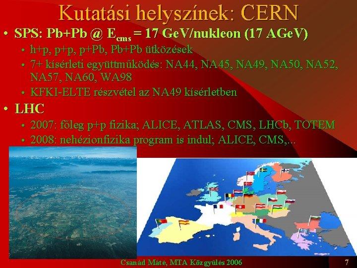 Kutatási helyszínek: CERN • SPS: Pb+Pb @ Ecms = 17 Ge. V/nukleon (17 AGe.