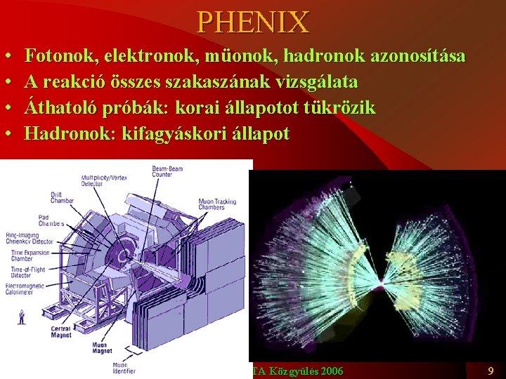 PHENIX • • Fotonok, elektronok, müonok, hadronok azonosítása A reakció összes szakaszának vizsgálata Áthatoló