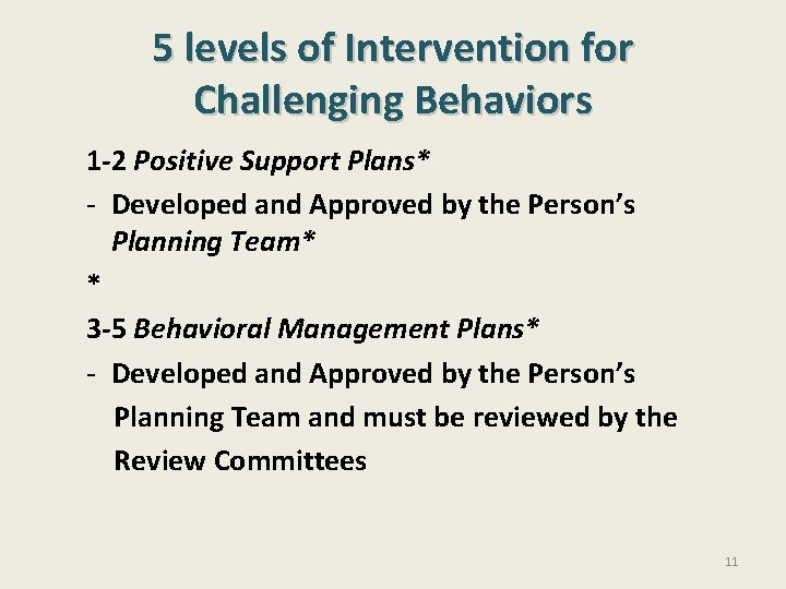 5 levels of Intervention for Challenging Behaviors 1 -2 Positive Support Plans* - Developed