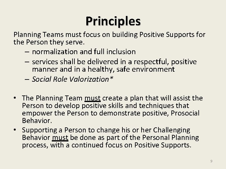 Principles Planning Teams must focus on building Positive Supports for the Person they serve.