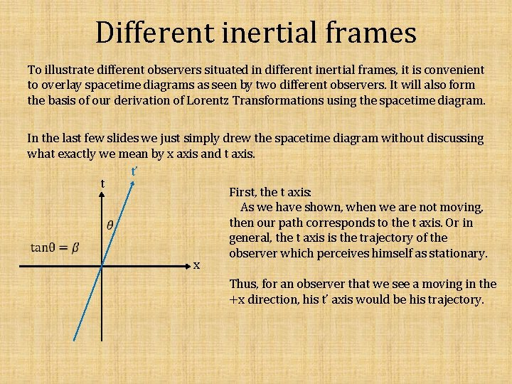 Different inertial frames To illustrate different observers situated in different inertial frames, it is