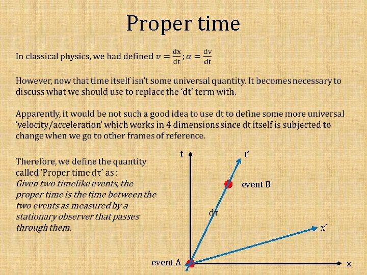 Proper time t t' event B x' event A x
