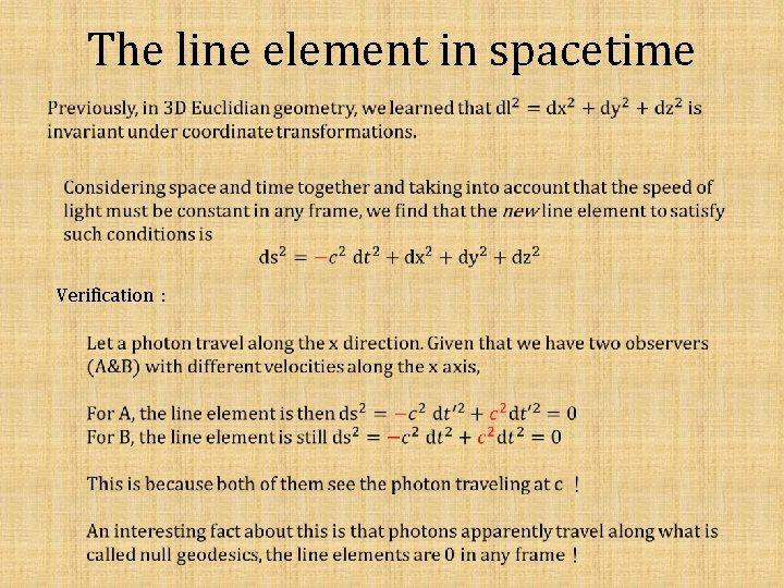 The line element in spacetime Verification: