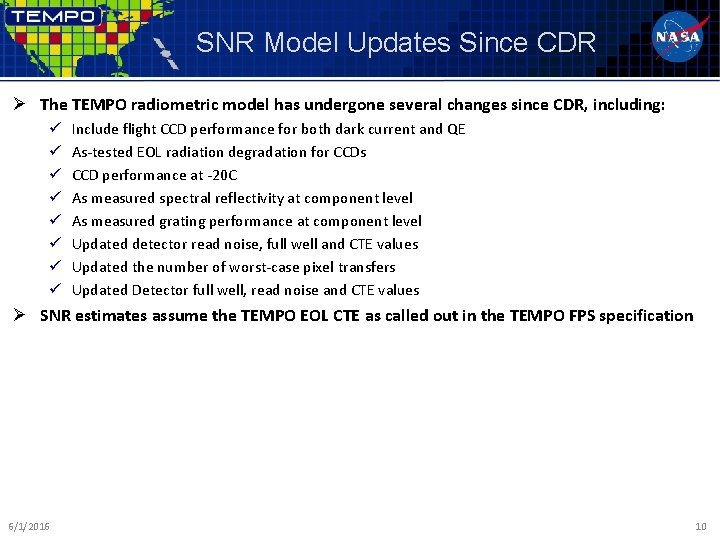 SNR Model Updates Since CDR Ø The TEMPO radiometric model has undergone several changes