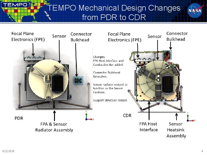 TEMPO Mechanical Design Changes from PDR to CDR 6/1/2016 4