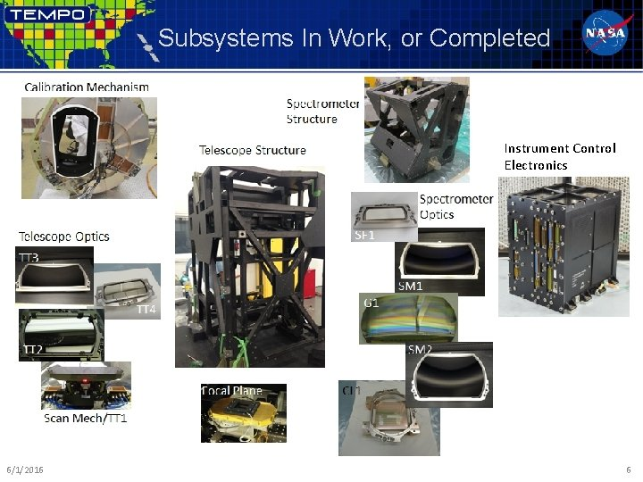 Subsystems In Work, or Completed Instrument Control Electronics 6/1/2016 6