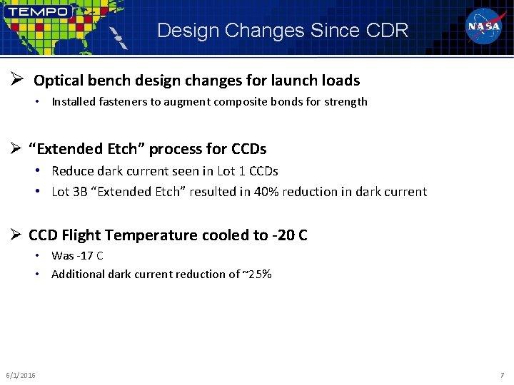 Design Changes Since CDR Ø Optical bench design changes for launch loads • Installed