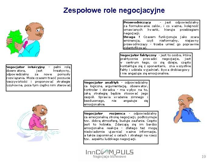 Zespołowe role negocjacyjne Przewodniczący - jest odpowiedzialny za formułowanie celów, i co ważne,