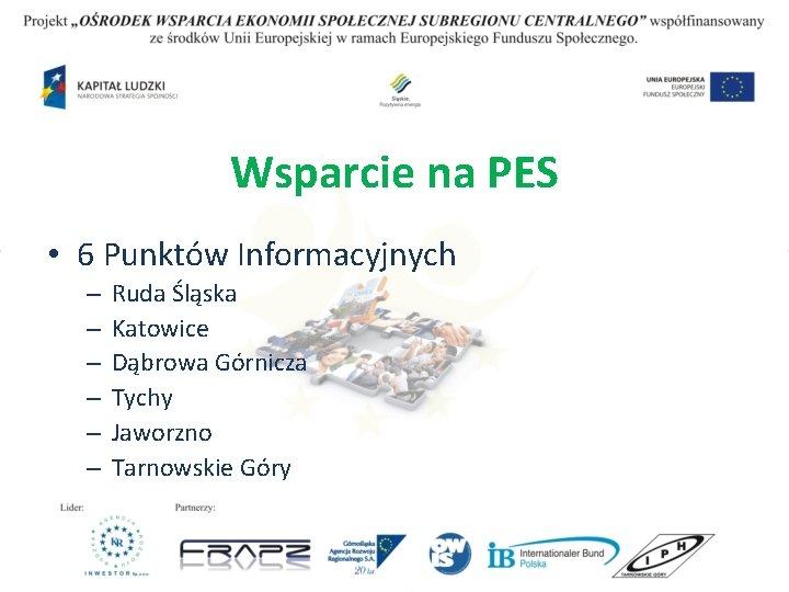 Wsparcie na PES • 6 Punktów Informacyjnych – – – Ruda Śląska Katowice Dąbrowa