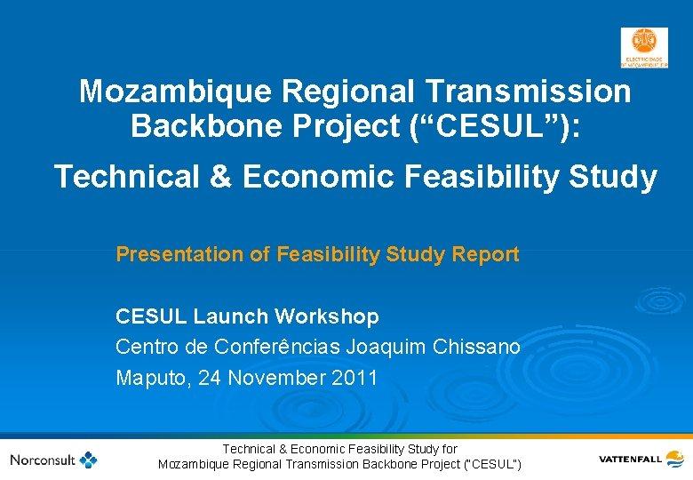 "Mozambique Regional Transmission Backbone Project (""CESUL""): Technical & Economic Feasibility Study Presentation of Feasibility"