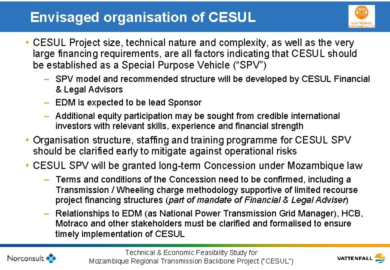 Envisaged organisation of CESUL • CESUL Project size, technical nature and complexity, as well