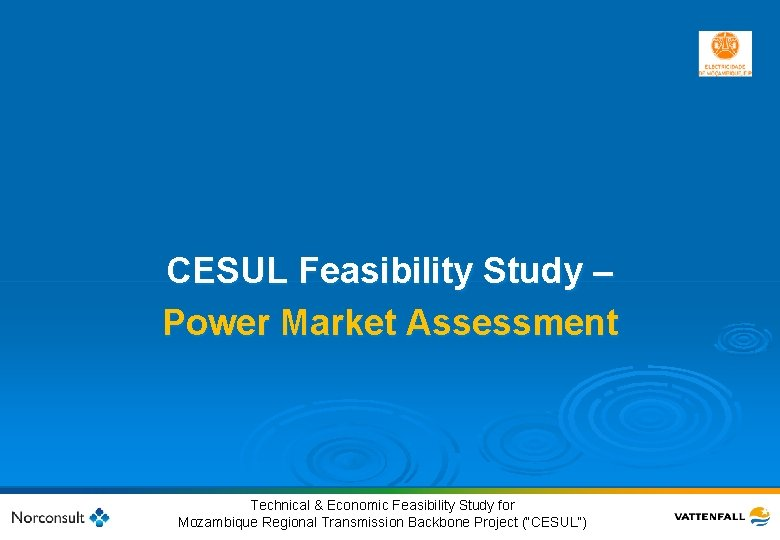 CESUL Feasibility Study – Power Market Assessment 9 © Vattenfall AB Technical & Economic