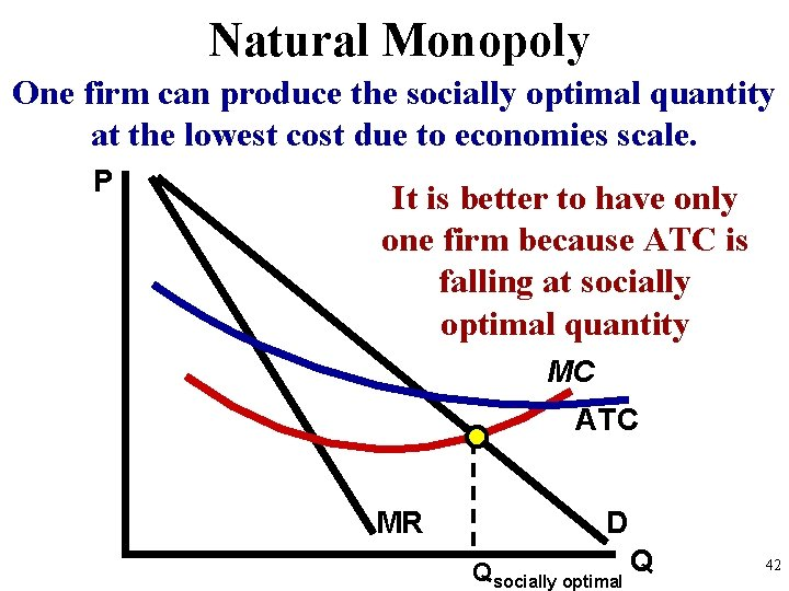 Natural Monopoly One firm can produce the socially optimal quantity at the lowest cost