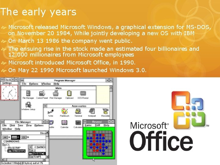 The early years Microsoft released Microsoft Windows, a graphical extension for MS-DOS, on November