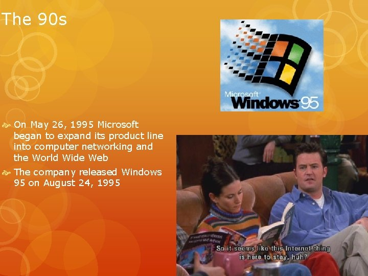 The 90 s On May 26, 1995 Microsoft began to expand its product line
