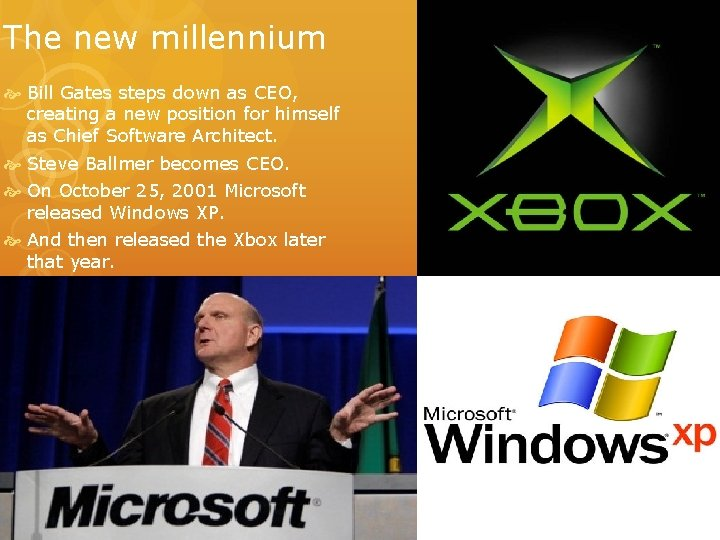 The new millennium Bill Gates steps down as CEO, creating a new position for