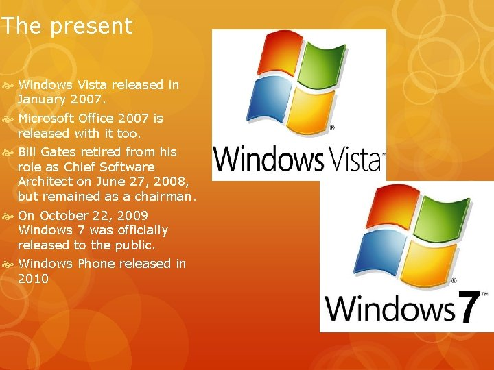 The present Windows Vista released in January 2007. Microsoft Office 2007 is released with