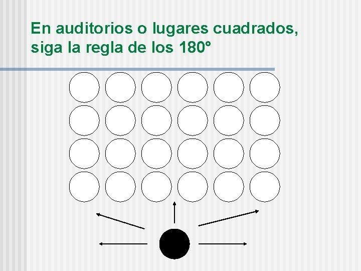 En auditorios o lugares cuadrados, siga la regla de los 180°