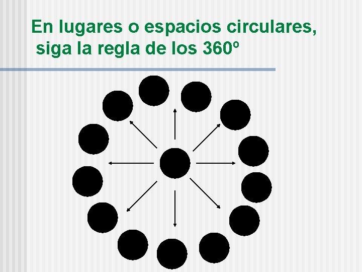 En lugares o espacios circulares, siga la regla de los 360º