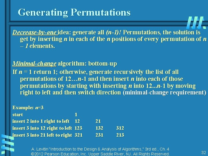 Generating Permutations Decrease-by-one idea: generate all (n-1)! Permutations, the solution is get by inserting