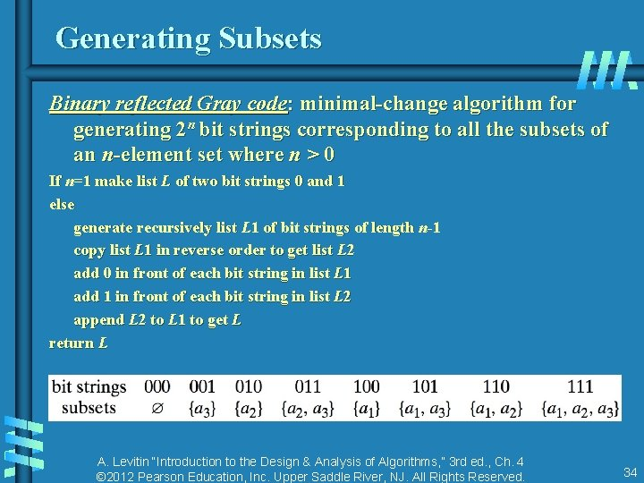 Generating Subsets Binary reflected Gray code: minimal-change algorithm for generating 2 n bit strings