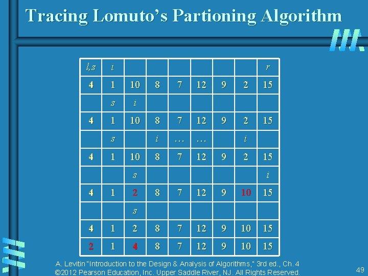 Tracing Lomuto's Partioning Algorithm l, s i 4 1 10 s i 1 10
